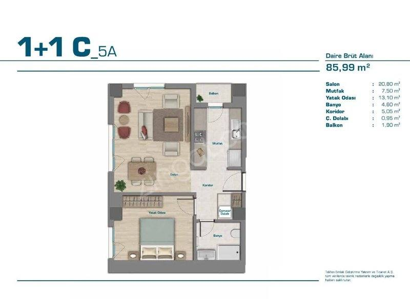 apartment plan 1+1 B