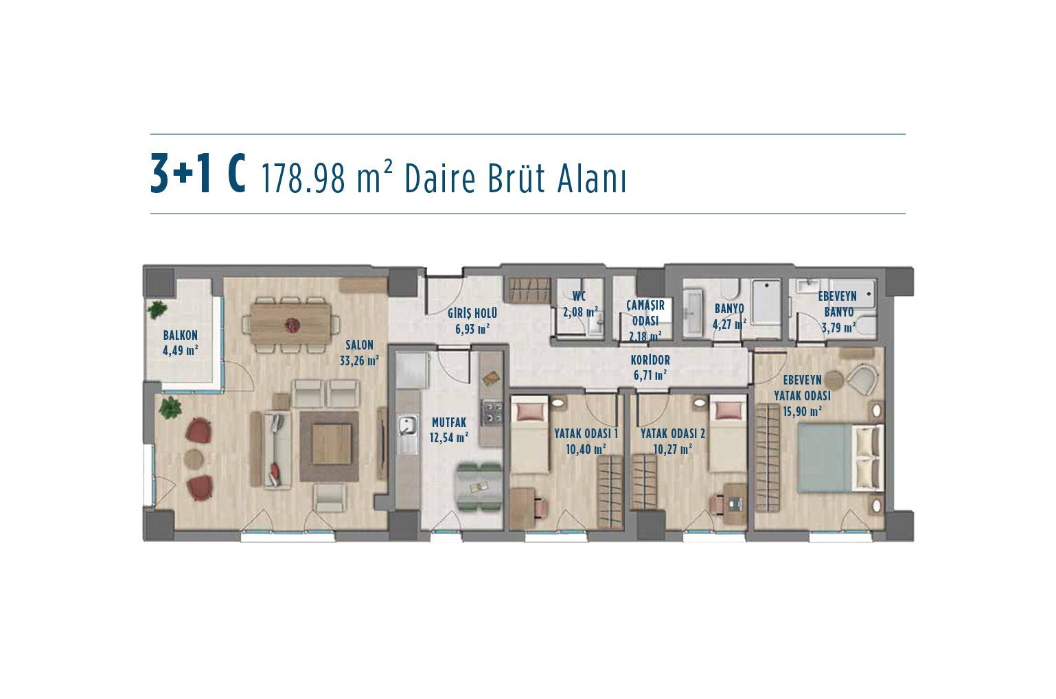 apartment plan 3+1 C