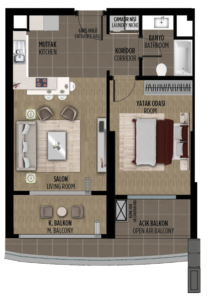 apartment plan 1+1 A