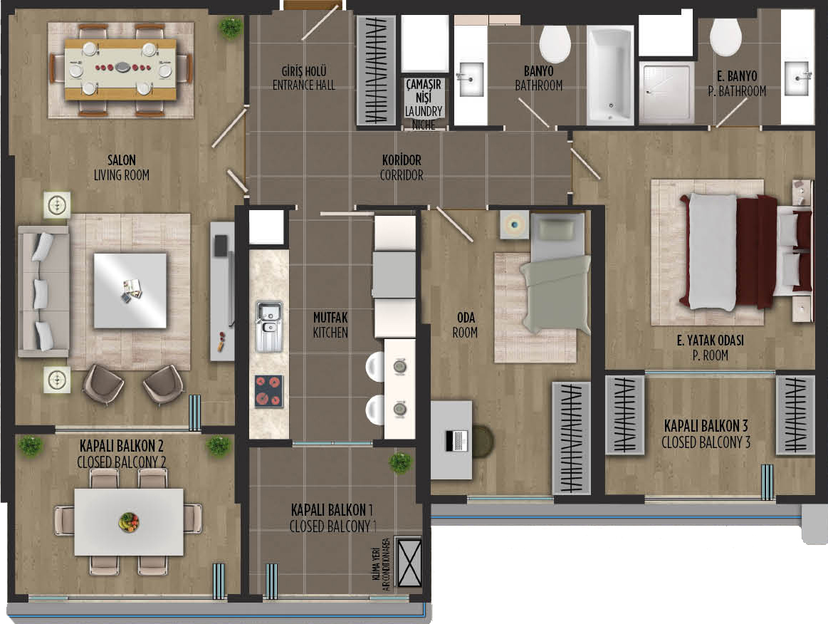 apartment plan 2+1 A