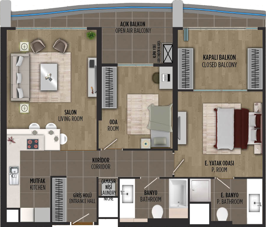 apartment plan 2+1 B