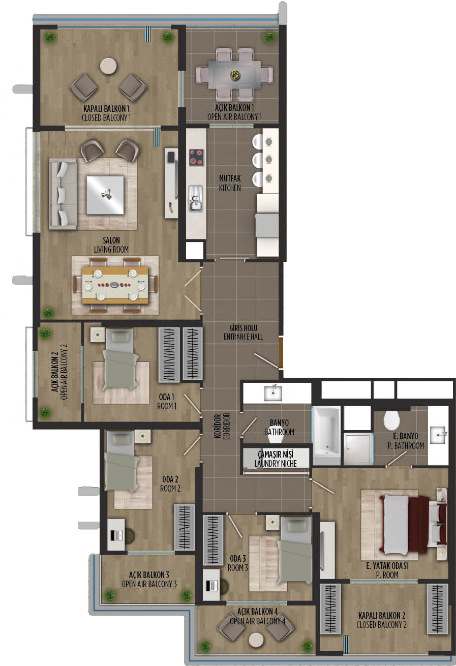 apartment plan 4+1 A