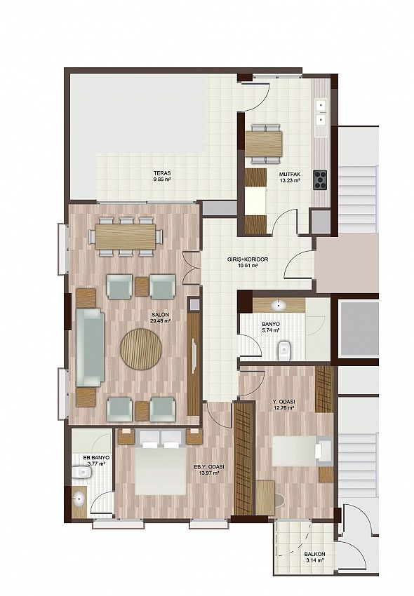 Apartment plan 2+1 D