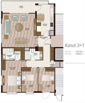 Apartment plan 3+1 A