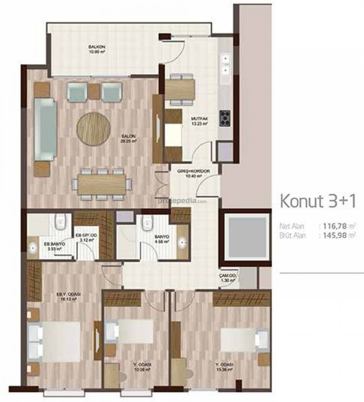 Apartment plan 3+1 D
